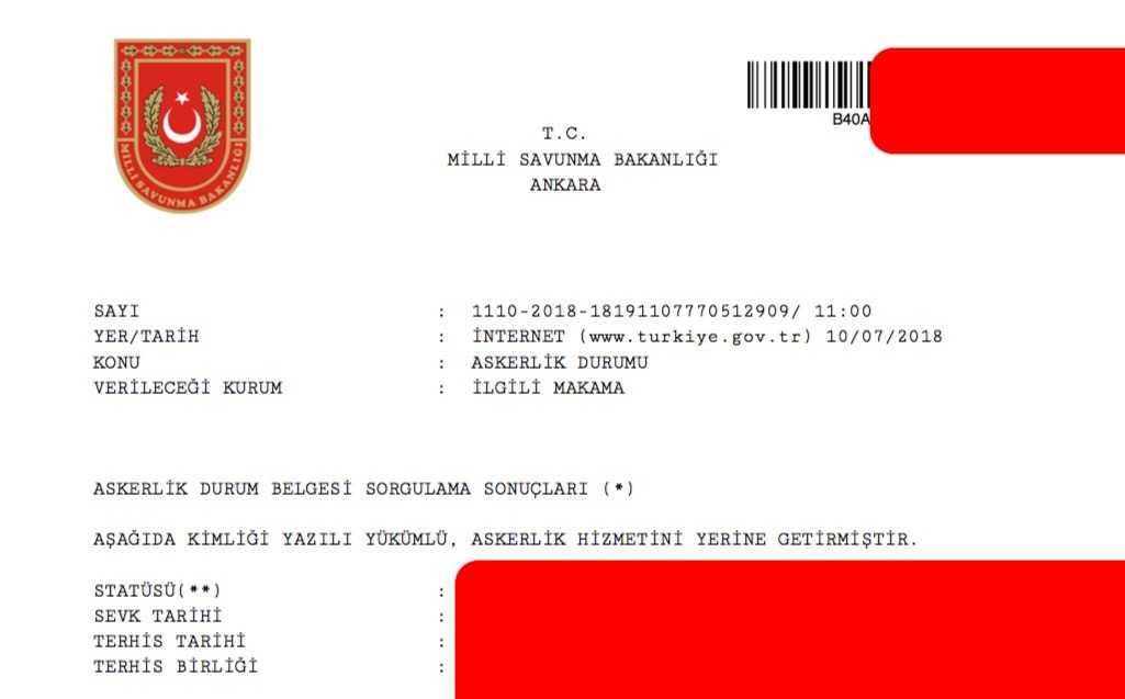 askerlik terhis belgesi