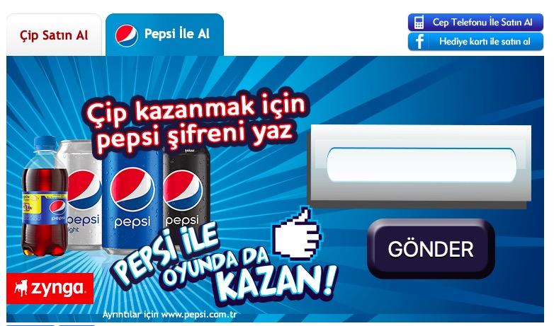 Bedava Pepsi Kapak Kodu 101 okey