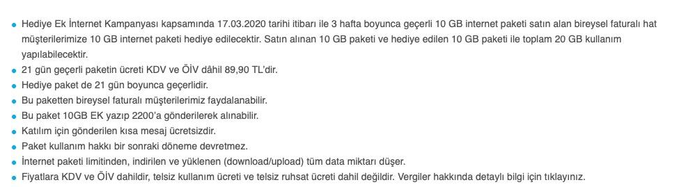 Turkcell 20GB İnternet şartlar