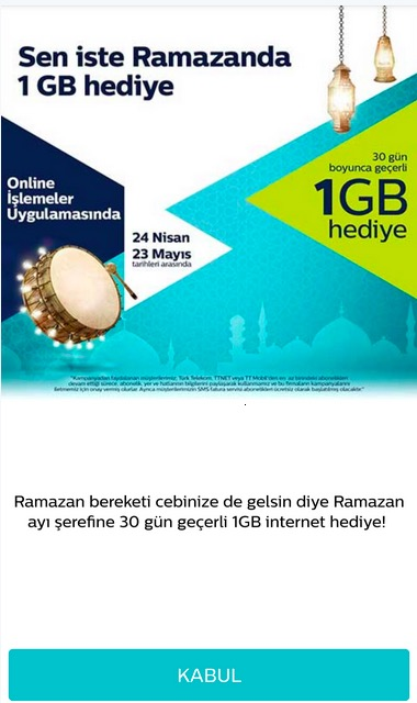 türk telekom 1gb bedava