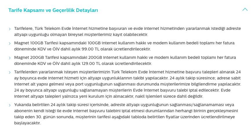 Türk Telekom Magnet Tarifeleri 200GB 129TL