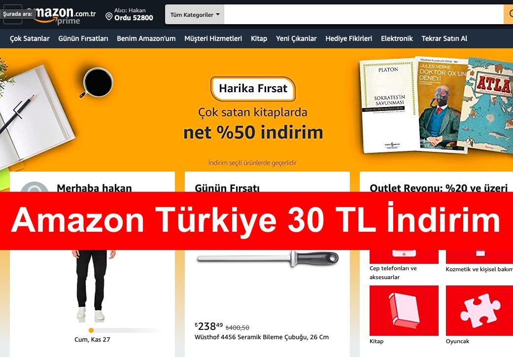 Amazon Turkiye 30 TL Indirim